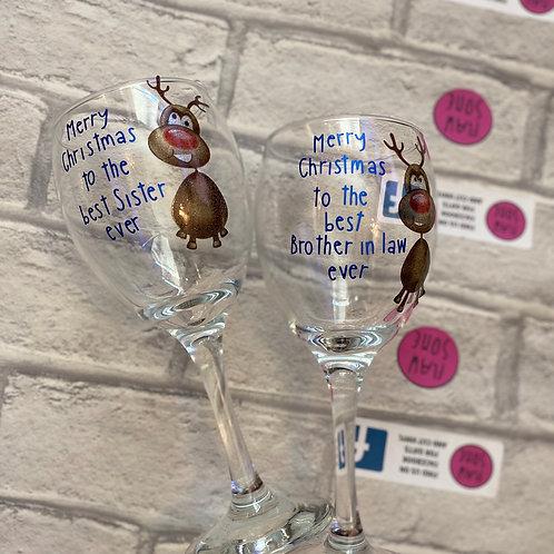 Drunken reindeer wine glass x1