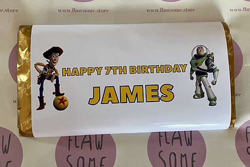 Personalised toy story chocolate bar
