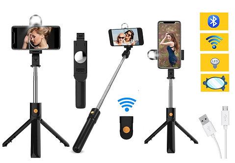 Treppiede PER Smartphone Luce Selfie Specchio e Telecomando