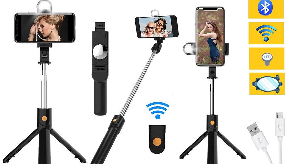 STARTPROdi Selfie Stick Treppiede con cavalletto per Smartphone Luce LED Selfie