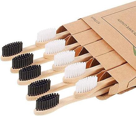 Spazzolino BAMBOO di legno Naturale biodegradabili 10 pezzi