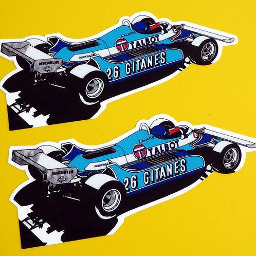 Vintage Classic 'Jacques Laffite' TALBOT Ligier MATRA F1 retro style stickers