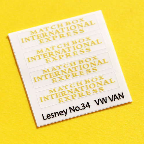 Lesney No.34 VW 'Matchbox International Express' replacement sticker decal set