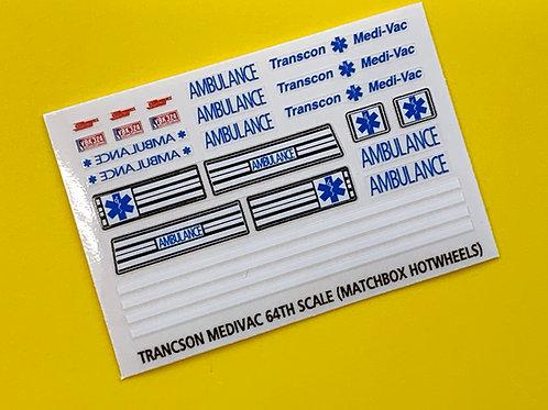Cannonball Run Transcon Medi-Vac 64th scale sticker decal
