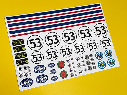 RC HERBIE 10th 1:10 Decals stickers Tamiya Sand Scorcher Traxxas Blitzer Beetle