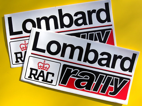 Lombard RAC Rally pair vintage Decals Stickers large red/black