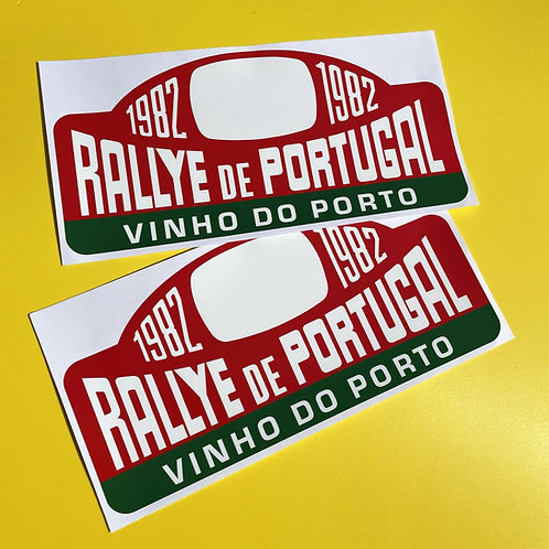 RALLY PORTUGAL 1982 Rally Race plate stickers Classic Car GLOSS LAMINATED