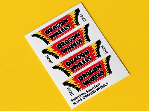 MATCHBOX SUPERFAST No.34 DRAGON WHEELS VW dragster sticker decal reproductions