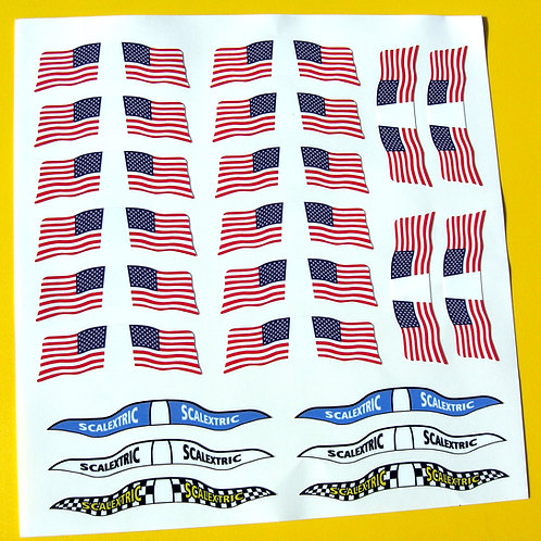 SLOT CAR SCALEXTRIC SCX 1/32nd vintage USA AMERICAN FLAGS stickers decals