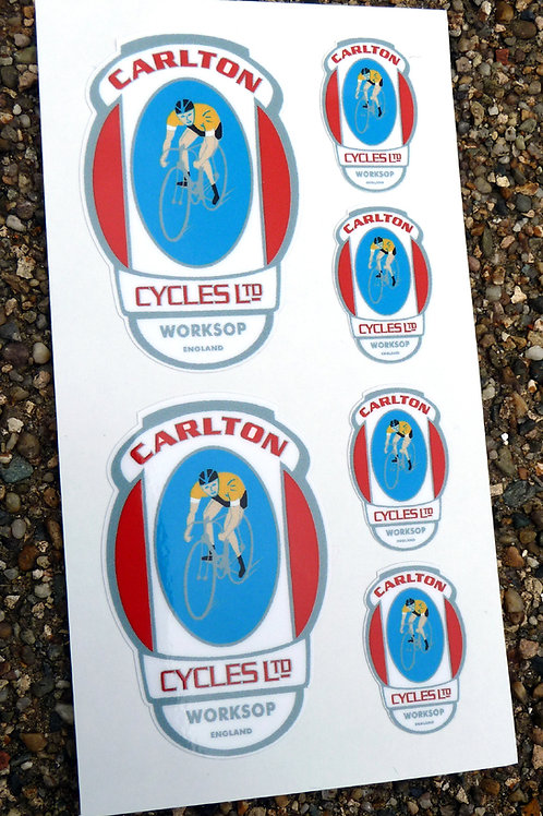 CARLTON style Vintage Cycle Bike Frame Decals Stickers