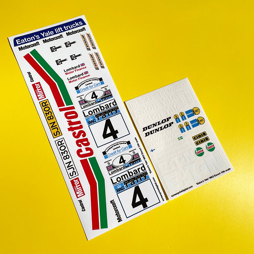 RC 10th 1:10 scale 'EATON'S YALE' ESCORT MK2 1978 RAC RALLY stickers decals