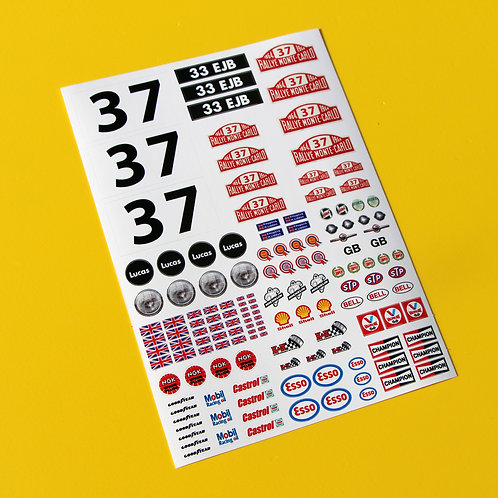 RC Tamiya 10th scale 1:10 Mini Monte Carlo Rally stickers Decals 37 Hopkirk