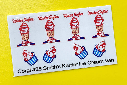 Corgi Smith's Karrier Mister Softee Ice Cream Van replacement sticker decal 428