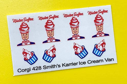 Corgi Smith's Karrier Mister Softee Ice Cream Van replacement sticker decal 428