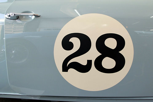 CLASSIC Ivory/Cream VINTAGE CAR RACE RALLY NUMBERS 40cm PAIR MGA MGB TRIUMPH