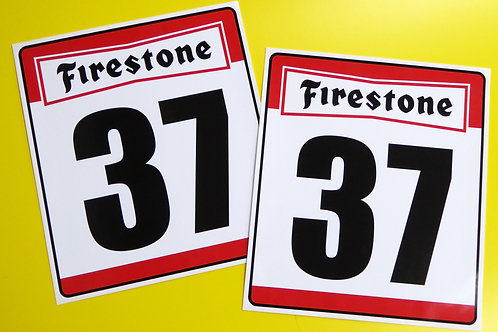 VINTAGE retro Classic Car 'FIRESTONE' RACE NUMBERS ideal for MINI COOPER