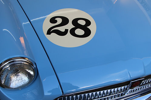 CLASSIC Ivory/Cream VINTAGE CAR RACE RALLY NUMBERS 30cm PAIR MGA MGB TRIUMPH