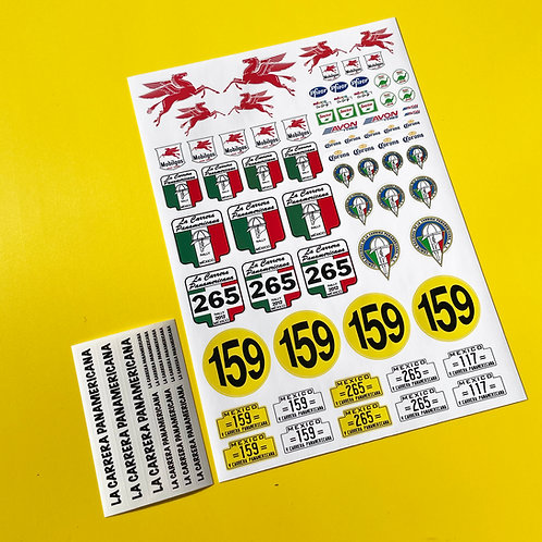 RC Vintage 'Carrera Panamericana' Road Race 10th scale Decals stickers