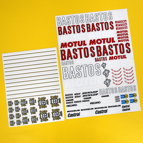 RC 10th 1:10 scale 'BASTOS' logos RALLY drift stickers decals 6R4 Escort etc.