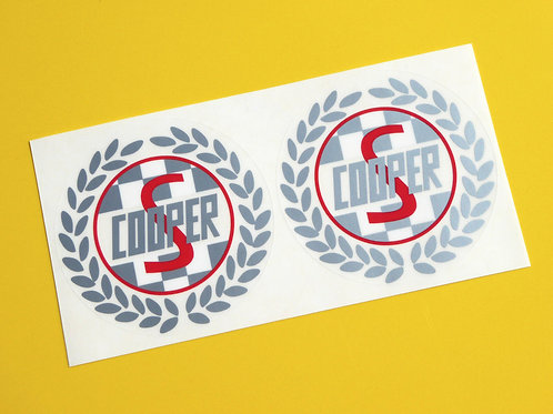 Mini Cooper S Classic Vintage retro 'Laurel' side decals stickers Silver & red