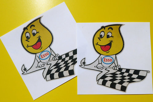 ESSO OIL DROP flag Classic Car 'WORN RETRO EFFECT' stickers decals Mini cooper