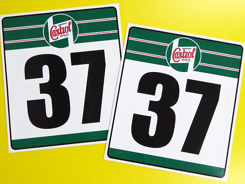 VINTAGE Classic Car 'CASTROL' RACE NUMBERS ideal for MINI COOPER