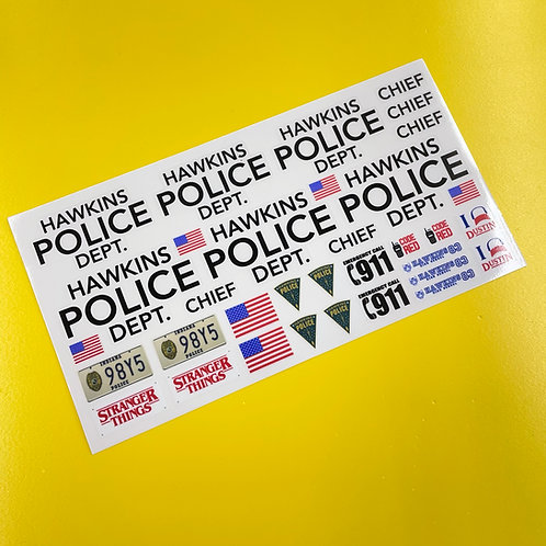 HAWKINS POLICE 10th SCALE RC Rock Crawler Truck stickers Decals Stranger Things