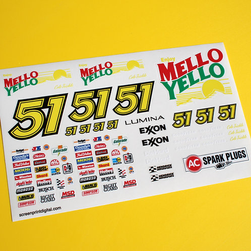 RC 18th scale 'MELLO YELLO' Days of Thunder sticker decal set