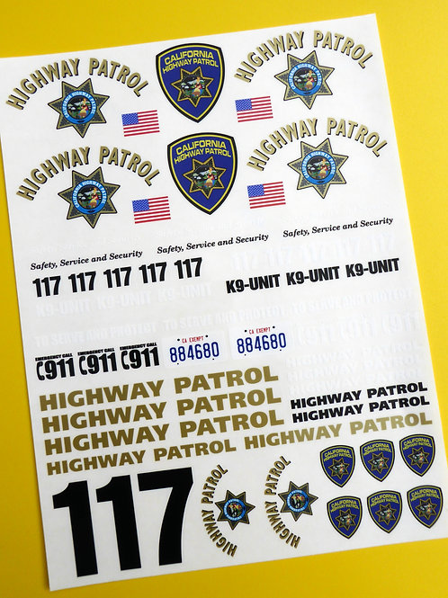 RC 24th SCALE CALIFORNIA HIGHWAY PATROL 'CHiPs' police Decals Stickers