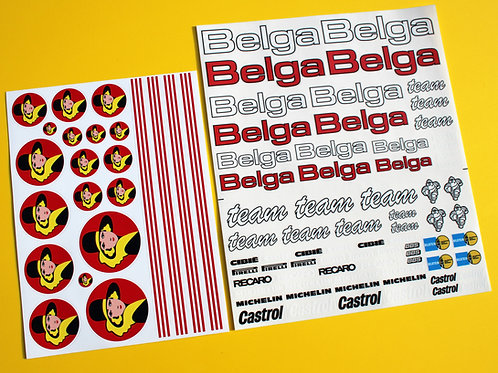 RC 10th 1:10 scale 'BELGA' logos RALLY drift stickers decals 6R4 Escort etc.