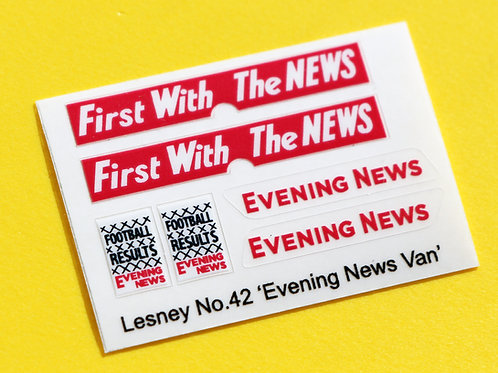 Lesney No.42 'Evening New Van' replacement sticker decal set