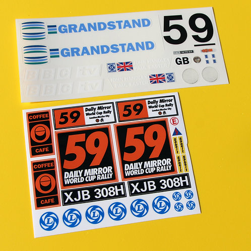 RC 10th scale World Cup Rally Mini 1970 sticker decal set, ideal for Tamiya Mini