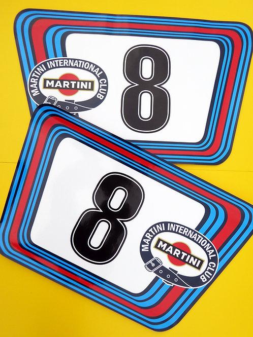 VINTAGE retro Classic Car MARTINI RACE NUMBERS Ideal for PORSCHE ASTON JAGUAR