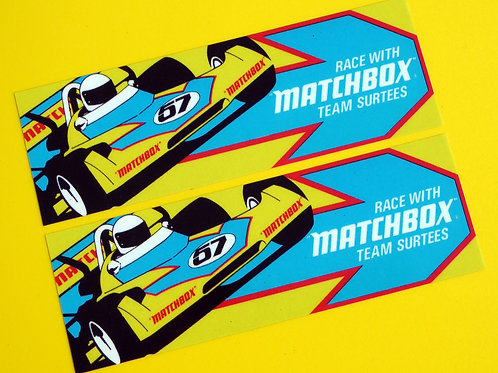 Vintage Classic 'TEAM SURTEES' MATCHBOX retro 1970's F1 style stickers decals