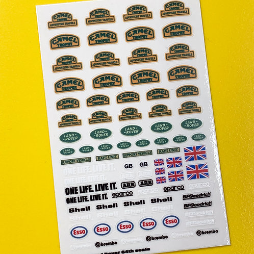 'Camel Trophy' retro 64th scale Matchbox Hotwheels Defender stickers decals
