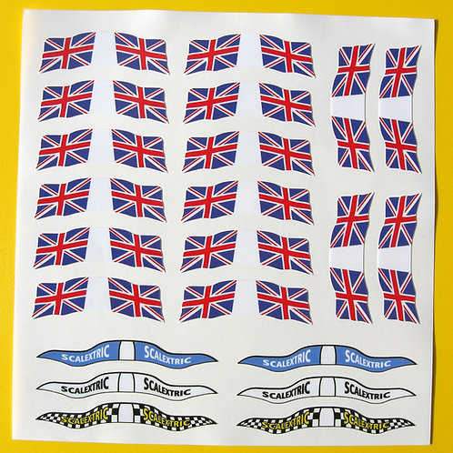 SLOT CAR SCALEXTRIC SCX 1/32nd vintage retro UK FLAGS stickers decals