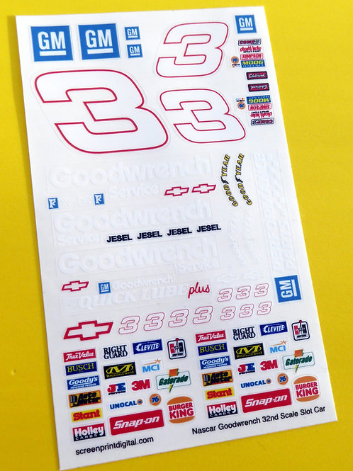 SLOT CAR SCALEXTRIC 1/32nd 'GOODWRENCH' Earnhardt 3 stickers decals NASCAR