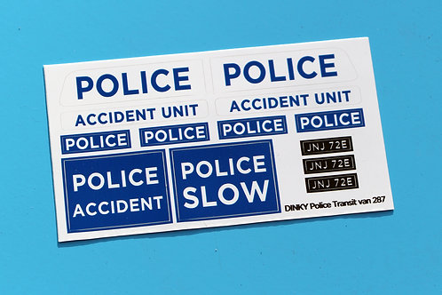 DINKY 'TRANSIT POLICE ACCIDENT UNIT' 287 sticker decal reproductions 43rd scale