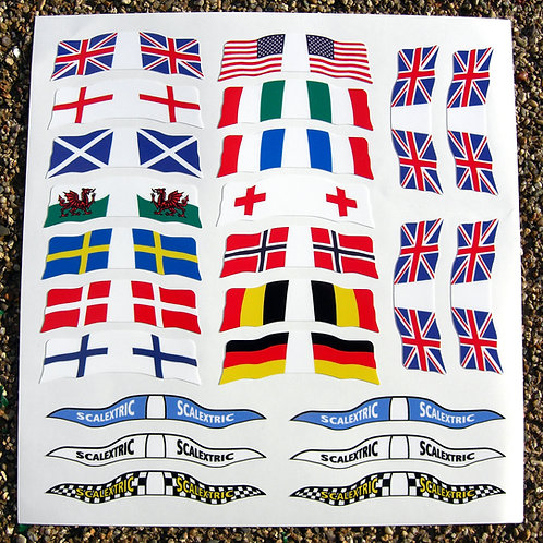 SLOT CAR SCALEXTRIC SCX 1/32nd vintage retro WORLD FLAGS stickers decals