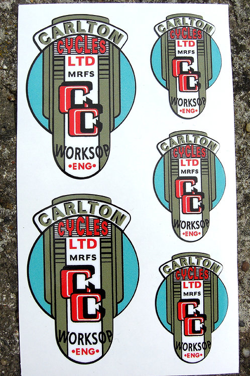 CARLTON 50's style Vintage Cycle Frame Decals Stickers