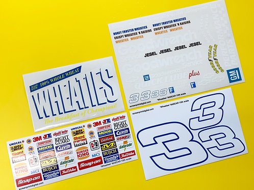 RC Nascar 'WHEATIES' number 3 stickers decals Tamiya Xray TC5 Kyosho