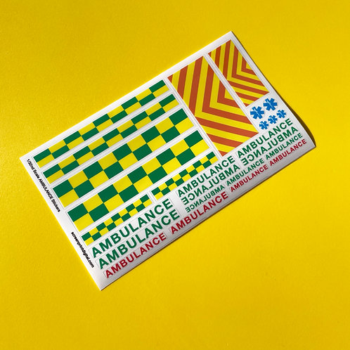SLOT CAR SCALEXTRIC 1/32nd scale UK 'AMBULANCE' EMERGENCY stickers decals