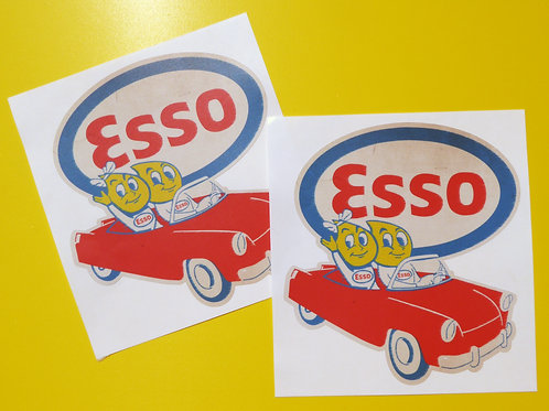 ESSO OIL DROP CAR Classic Car 'WORN RETRO EFFECT' stickers decals Mini cooper