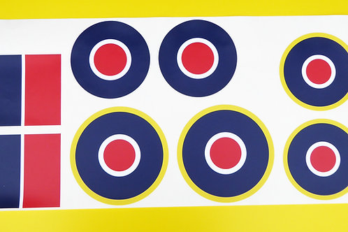 RC Aircraft Plane RAF LARGE SCALE ROUNDELS stickers decals full SET 1