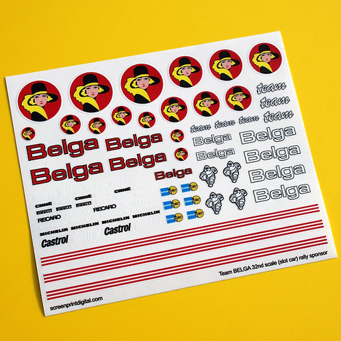 SLOT CAR SCALEXTRIC 1/32nd 'BELGA' Rally Race car sponsor stickers decals 1:32