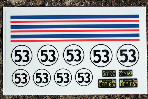 HERBIE 18th scale pre cut stickers/decals, idea for RC and Die Cast model VW Ide
