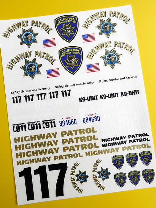 RC 18th SCALE CALIFORNIA HIGHWAY PATROL 'CHiPs' police Decals Stickers