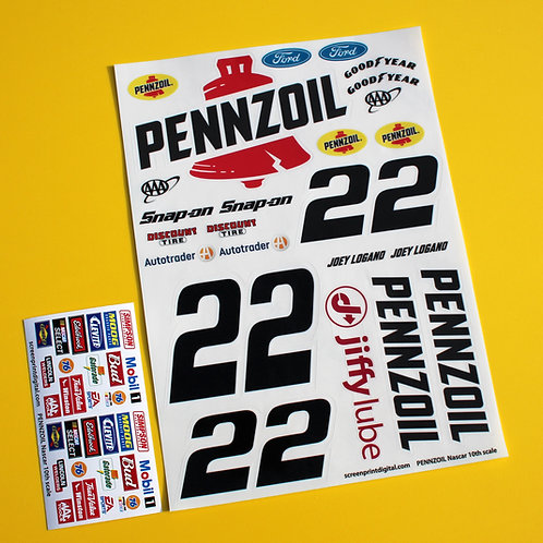 RC Nascar 10th scale 'PENNZOIL' car 22 Logano stickers decals Tamiya Xray TC5