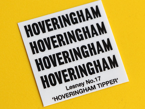 Lesney No.17 HOVERINGHAM TIPPER replacement sticker decal set