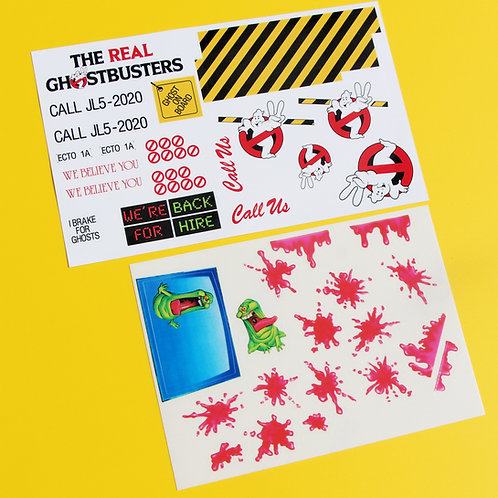 GHOSTBUSTERS ECTO1A  RC stickers decal set Ecto1A ideal for KENNER restoration